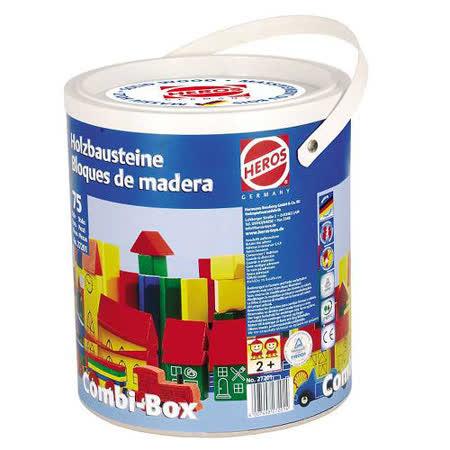 【德國HEROS木製積木】繽紛世界彩色積木桶 75pces-27201