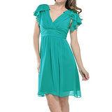 『摩達客』美國進口Landmark雙邊荷葉袖浪漫紗裙土耳其藍派對小禮服/洋裝(含禮盒)
