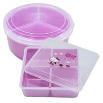 Hello Kitty方形與圓形保鮮盒-甜甜圈-二入任組