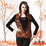 【麥雪爾】自然奧妙~豹紋拼接假兩件寬版上衣