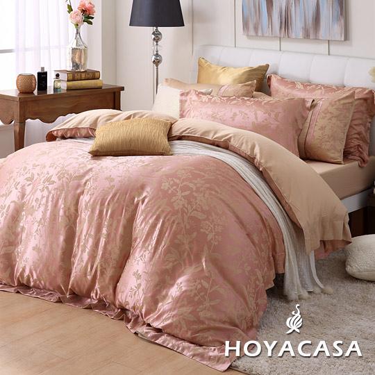 《HOYACASA戀戀梅香》雙人六件式天蠶絲緹花被套床包組