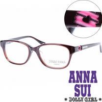 Anna Sui安娜蘇日本Dolly Girl系列潮流平光眼鏡 棕色彩紅鏤空愛心款‧五色【DG503-105】