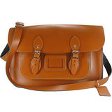 【The Leather Satchel Co.】14吋 英國手工牛皮劍橋包 肩背 側背包 精湛工藝 新款磁釦設計方便開啟(倫敦棕)