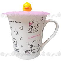 酷咕鴨KU.KU. 花漾繽紛馬克杯+黃色小鴨 PiYO PiYO 防塵保鮮杯蓋/微波專用