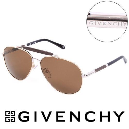 GIVENCHY 法國魅力紀梵希 LOGO都會傳奇飛行員太陽眼鏡 棕  GISGV4615