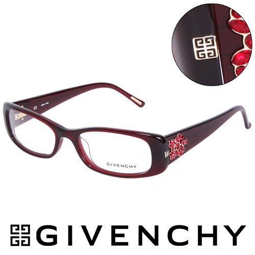 GIVENCHY 法國魅力紀梵希 華麗珠寶框  平光眼鏡 紅  GIVGV7450954