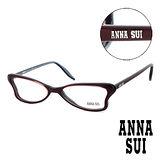 Anna Sui 日本安娜蘇 魔幻時尚經典蝴蝶造型平光眼鏡(酒紅) AS03603