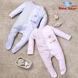 【聖哥-明日之星Newstar】MIT 秋冬暖暖可愛熊熊嬰兒腳套兔衣連身衣(厚長袖長褲、全釦)藍、粉紅可選