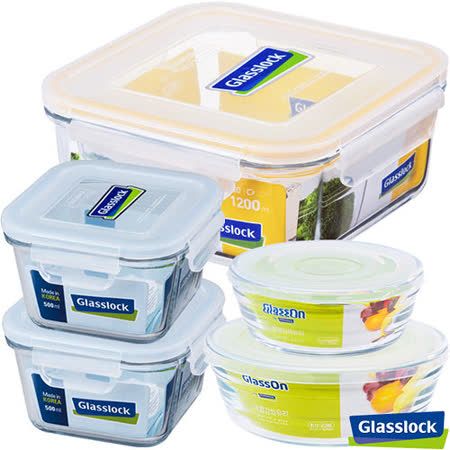 Glasslock強化玻璃微波保鮮盒 - 精緻餐廚5件組