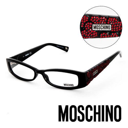 MOSCHINO 義大利 晶鑽 平光眼鏡 黑  MO01801