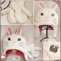 【Little Muffin小馬芬】可愛兔兔珊瑚絨雙層保暖護耳毛帽+珊瑚絨手套二件組 [har027]
