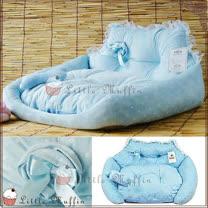日本KOJIMA原裝寵物睡窩 夢幻蕾絲點點粉系麂皮絨王子寵物床/沙發床/小窩