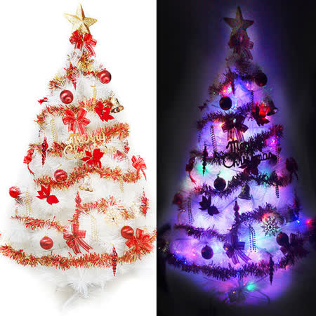 台灣製12尺/12呎(360cm)特級白色松針葉聖誕樹 (紅金色系)+100燈LED燈7串(附控制器跳機)