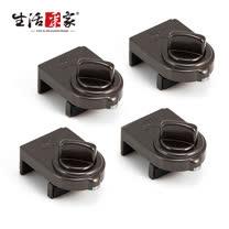 【生活采家】GUARD系列安全鋁窗鎖_小安全鈕型(棕)-4入裝#99259