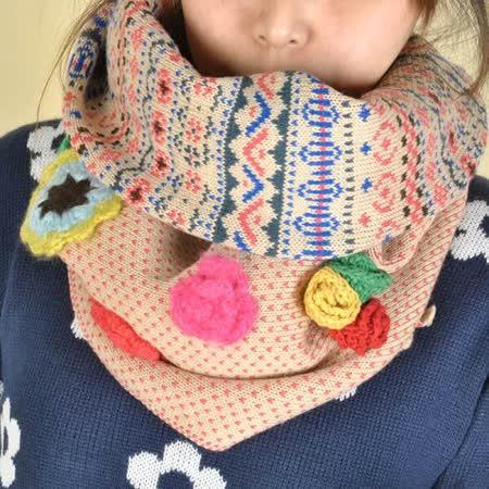 【Maya Collection森林系】手工毛線花拼接保暖圍巾