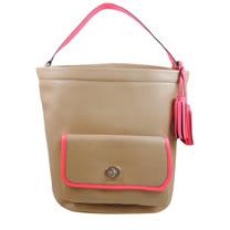 COACH LEGACY系列 撞色皮革流蘇吊飾水桶包.駝