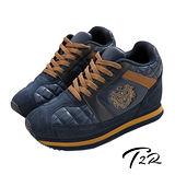 【韓國T2R】旗艦款皇家菱紋10公分增高休閒鞋 藍色 5600-0071