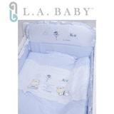 L.A. Baby 美國加州貝比 田趣風光MIT純棉七件式寢具組- L (藍色/粉色)