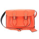 【The Leather Satchel Co.】11吋 英國手工牛皮劍橋包 肩背 側背包 精湛工藝 新款磁釦設計方便開啟(珊瑚紅)