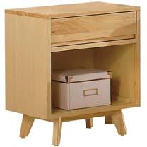 HAPPYHOME 達拉1.5尺實木單抽床頭櫃005-4