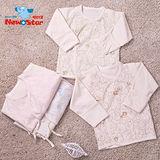 【聖哥-明日之星】薄-有機棉~加大新生兒肚衣l嬰兒肚衣l嬰兒上衣 反摺袖(碎花、護手反摺、綁帶)藍色 粉紅色 綠色 咖啡色/3M 6M [MIT台灣製造-給您安心好品質]