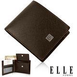 ELLE HOMME 法式短皮夾 機能性零錢收納/鈔票多層/證件夾層/名片層設計短皮夾-咖啡EL81788-45