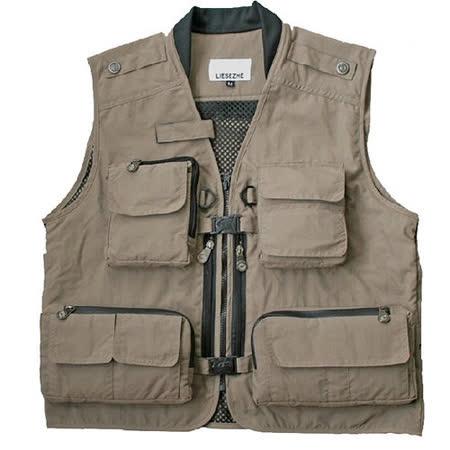 PUSH!機能面料衣胸部快速插扣主口袋防水保護背心釣魚攝影背心馬甲