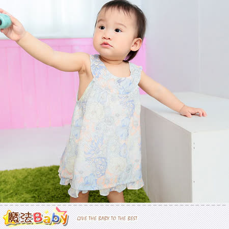 魔法Baby~洋裝~百貨專櫃女寶寶無袖連身裙&小褲兩件組~嬰幼兒服飾~k35070