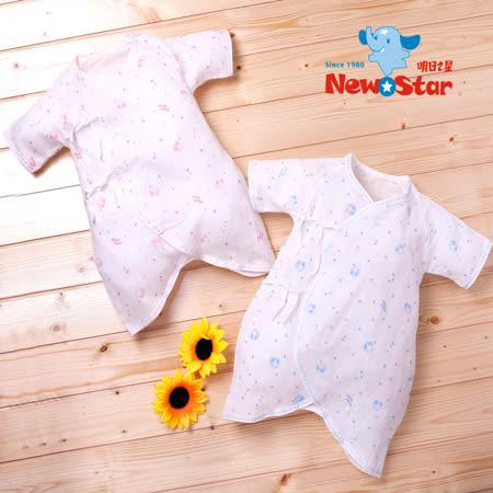 【聖哥-明日之星New Star】薄-棉紗嬰兒蝴蝶裝(短袖長褲、綁帶)二色可選