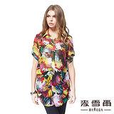 【麥雪爾】艷彩獨特印花長板襯衫