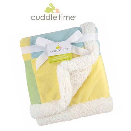 【美国cuddletime】多用途宝宝携带毯-粉黄拼贴毯