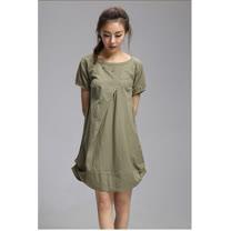 【Maya 名媛】 (中大碼)  棉麻 立體版圓包裙 連身洋裝-綠色