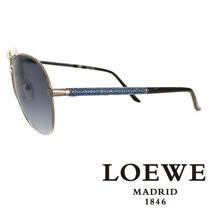 LOEWE 西班牙皇室品牌羅威經典皮革蛇紋太陽眼鏡(藍色) SLW380-0568