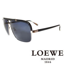 LOEWE 西班牙皇室品牌羅威軍用質感太陽眼鏡(黑色) SLW404-0K59