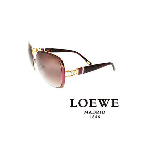 LOEWE 西班牙皇室品牌羅威金屬皮革太陽眼鏡(紫) SLW405-0R26