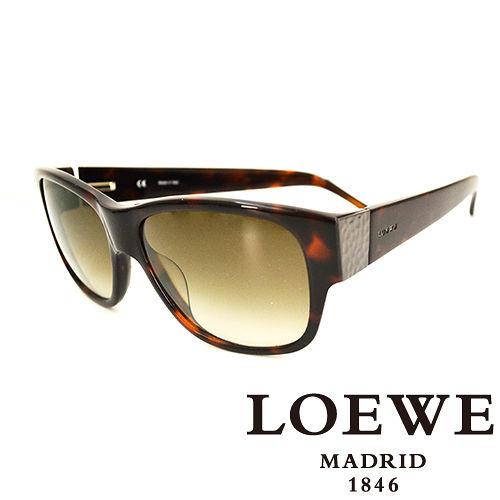 LOEWE 西班牙皇室品牌羅威素面貴氣太陽眼鏡 琥珀  SLW693~09XK