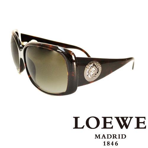 LOEWE 西班牙皇室品牌羅威圓形貴氣 LOGO太陽眼鏡 琥珀  SLW695~09XK