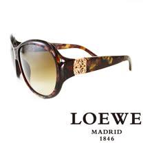 LOEWE 西班牙皇室品牌羅威貴氣花邊太陽眼鏡(咖啡)SLW808-0AHM