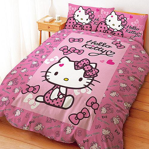~享夢城堡~HELLO KITTY 蝴蝶結甜心系列~單人三件式床包涼被組 粉