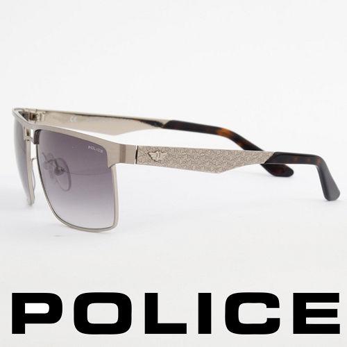 POLICE 義大利警察都會款 型男眼鏡~金屬框 銀色  POS8873~0Q39