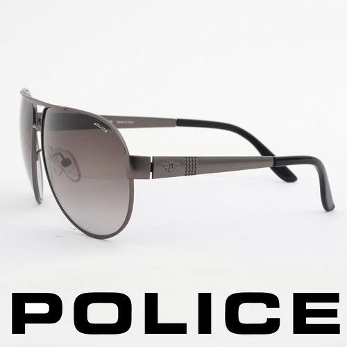 POLICE 義大利警察都會款 型男眼鏡~金屬框 黑灰  POS8876~0627