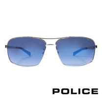 POLICE 義大利警察都會款個性型男眼鏡-金屬框(黑色) POS8879G579P
