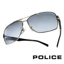 POLICE 義大利警察都會款個性型男眼鏡-金屬框(銀黑) POS8880G0579