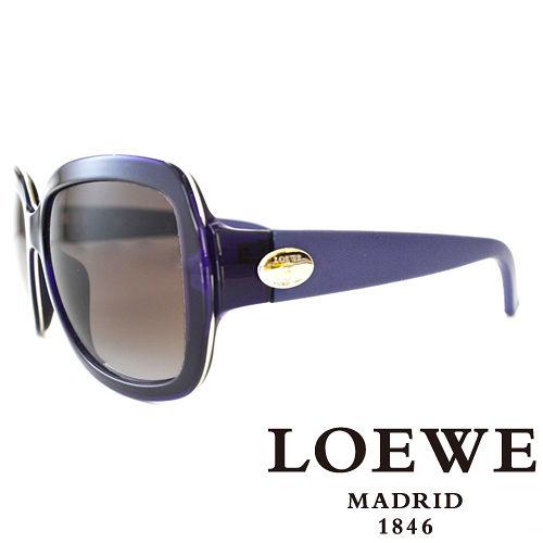 LOEWE 西班牙皇室品牌羅威皮革腳金屬LOGO太陽眼鏡 紫  SLW774~0055