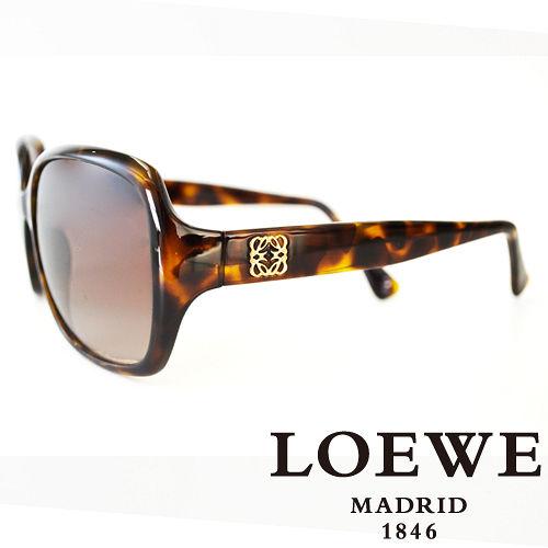 LOEWE 西班牙皇室品牌羅威素面立體LOGO太陽眼鏡 琥珀  SLW776~0744