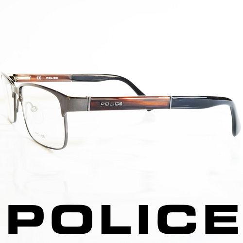 POLICE 義大利警察都會款 型男眼鏡~金屬框 木頭棕  POV8797~568X