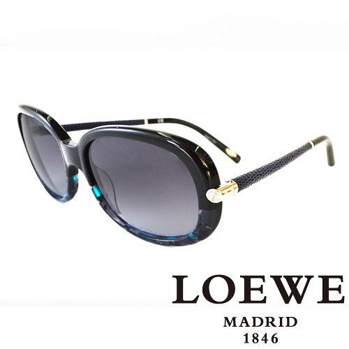 LOEWE 西班牙皇室品牌羅威 皮革大理石面太陽眼鏡 藍  SLW803~0AB9