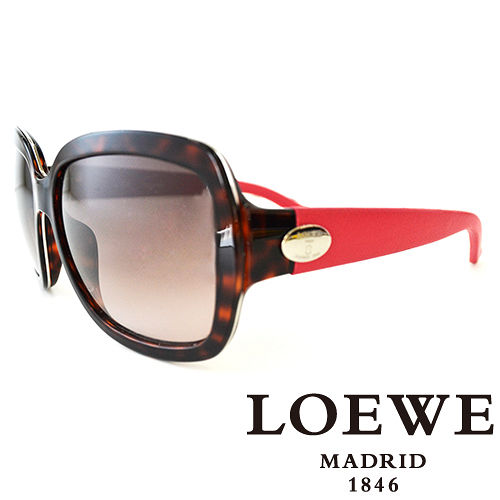 LOEWE 西班牙皇室品牌羅威皮革腳金屬LOGO太陽眼鏡 豹紋  SLW774~07R4