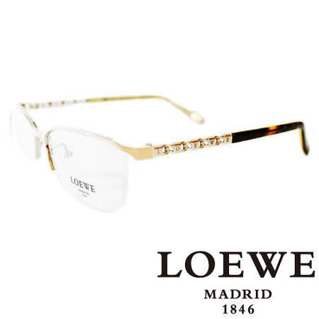 LOEWE 西班牙皇室品牌羅威法瑯質優雅奢華平光眼鏡(米) VLW395-0S31