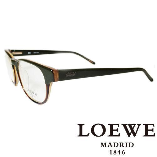 LOEWE 西班牙皇室品牌羅威皇冠LOGO平光眼鏡 棕  VLW746~06E3